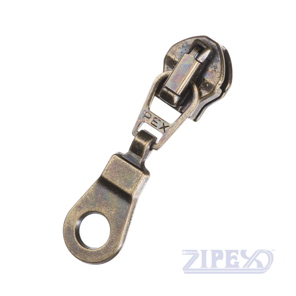 No4 Spy Hole Zip Slider Puller Bronze