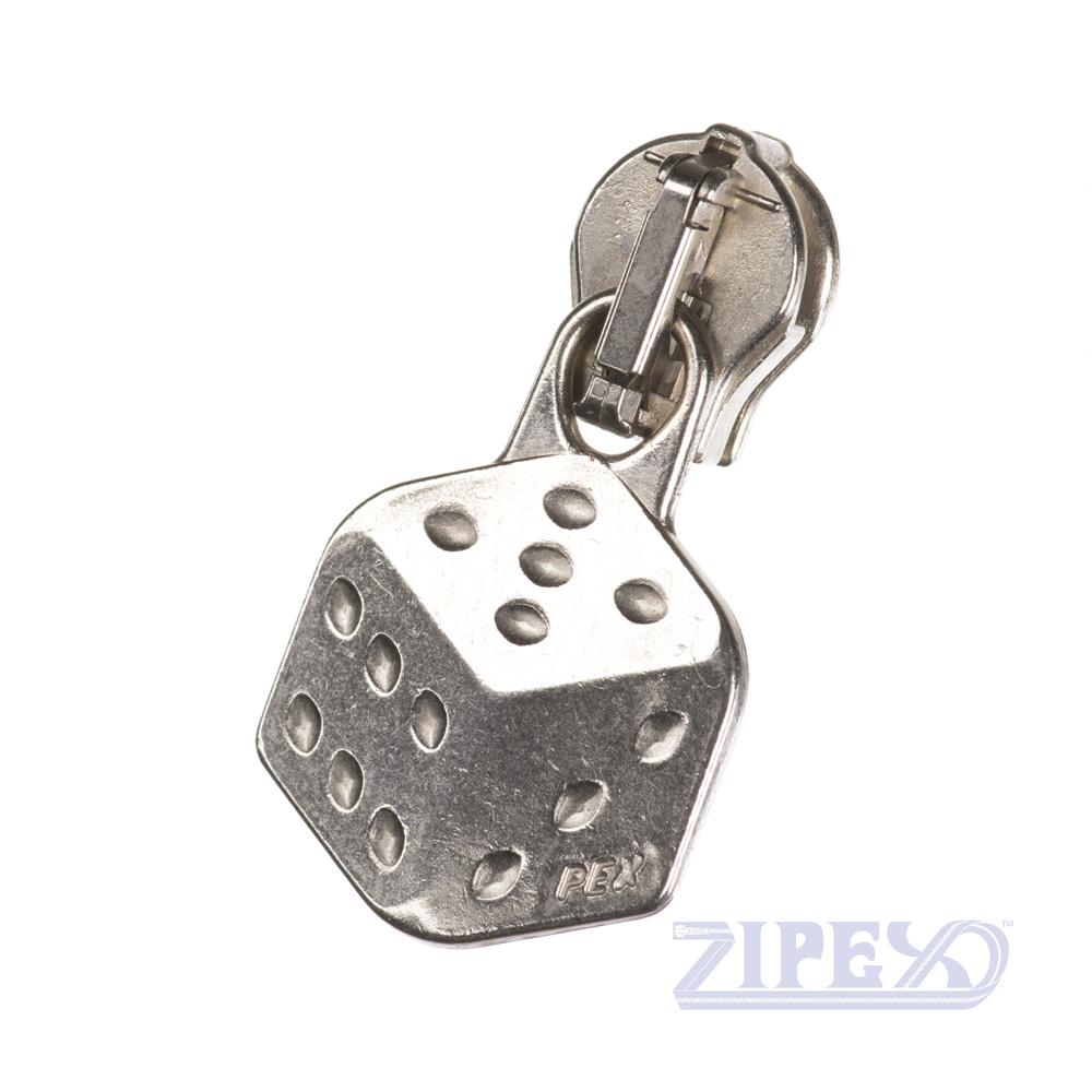 No20 Dice Zip Slider Puller Chrome