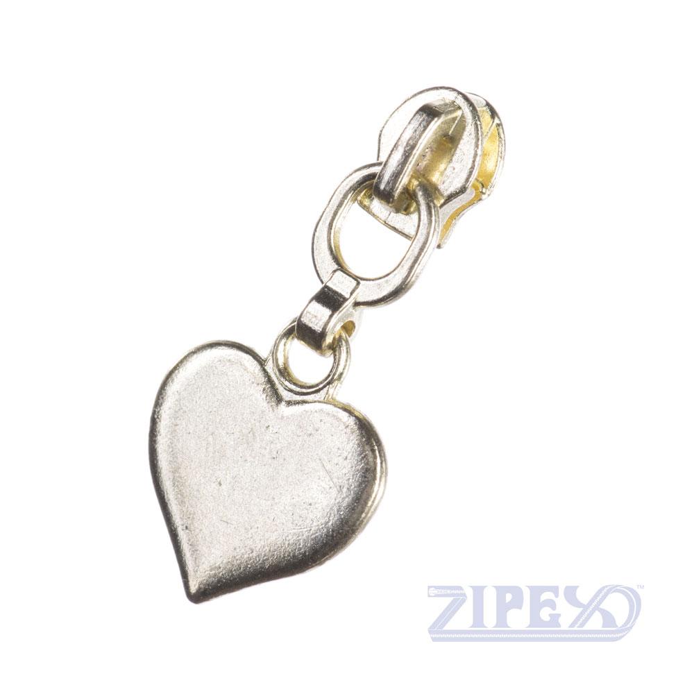 Heart non-lock zip slider puller